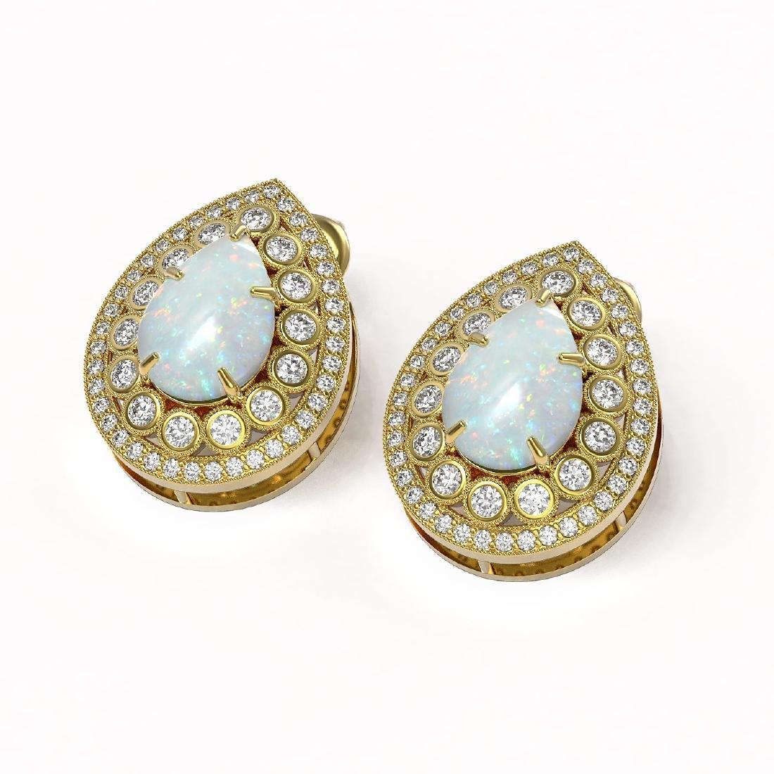 7.88 ctw Opal & Diamond Earrings 14K Yellow Gold - - 2