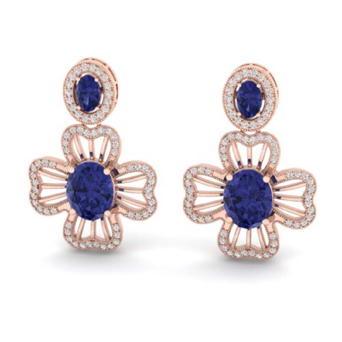 9.26 ctw Tanzanite & VS/SI Diamond Earrings 14K Rose