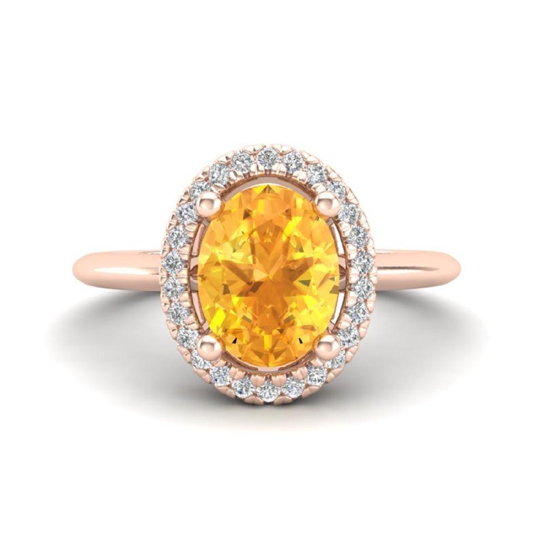 1.75 ctw Citrine & VS/SI Diamond Ring Halo 14K Rose
