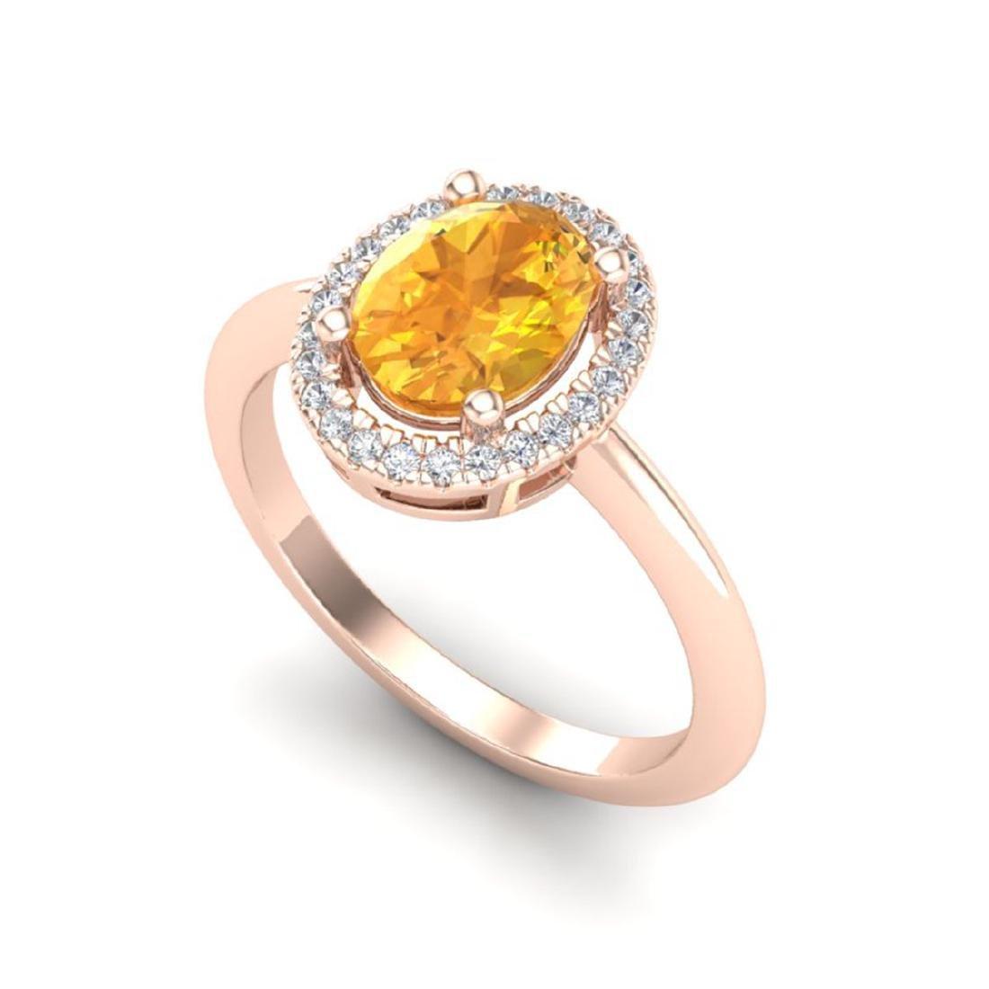1.75 ctw Citrine & VS/SI Diamond Ring Halo 14K Rose - 2