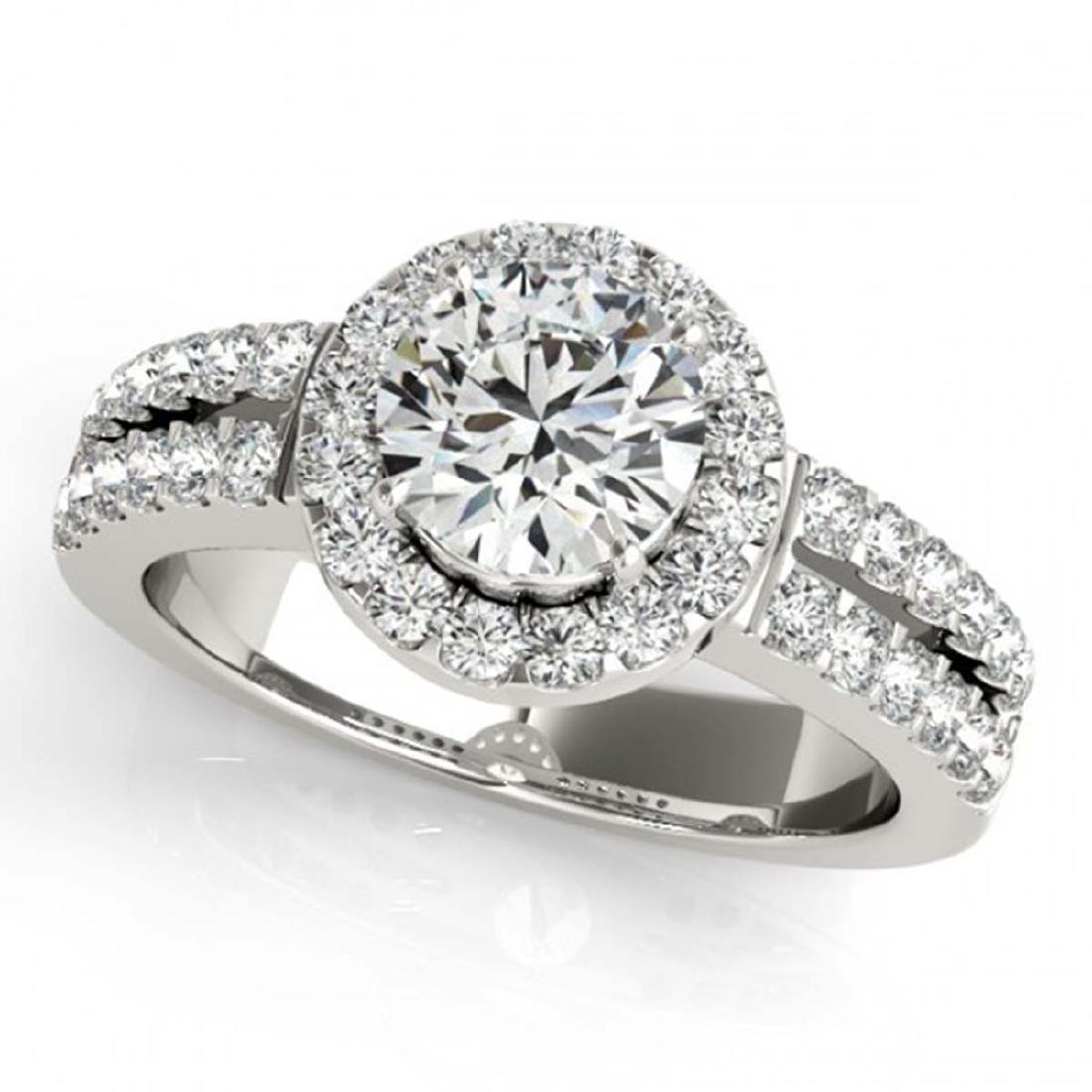 0.85 ctw VS/SI Diamond Halo Ring 14K White Gold -