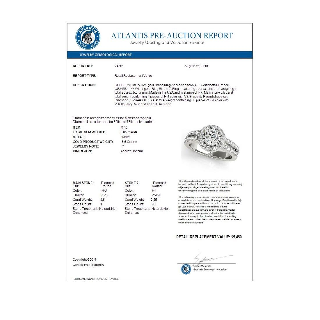 0.85 ctw VS/SI Diamond Halo Ring 14K White Gold - - 3