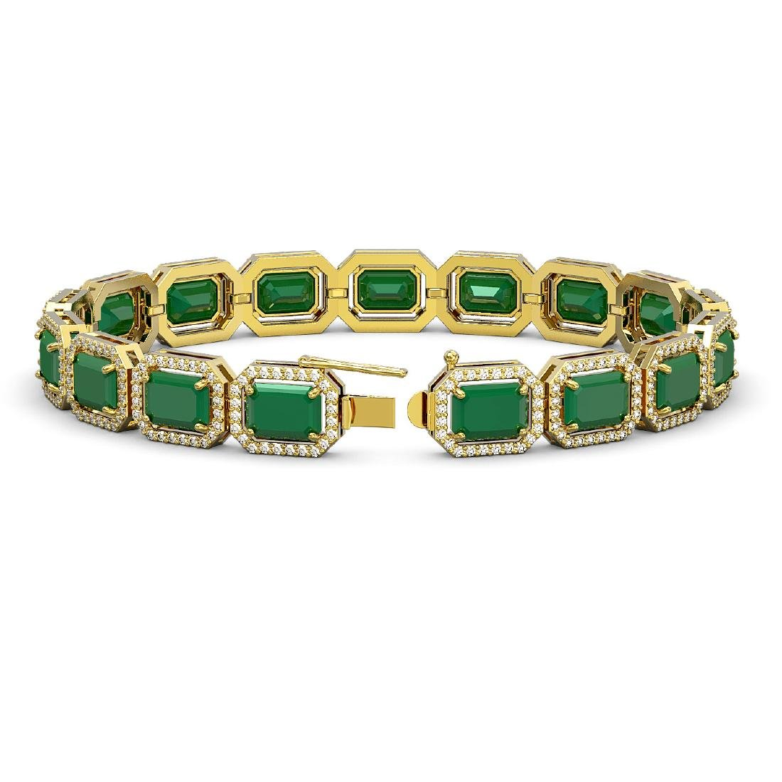 26.21 ctw Emerald & Diamond Halo Bracelet 10K Yellow - 2