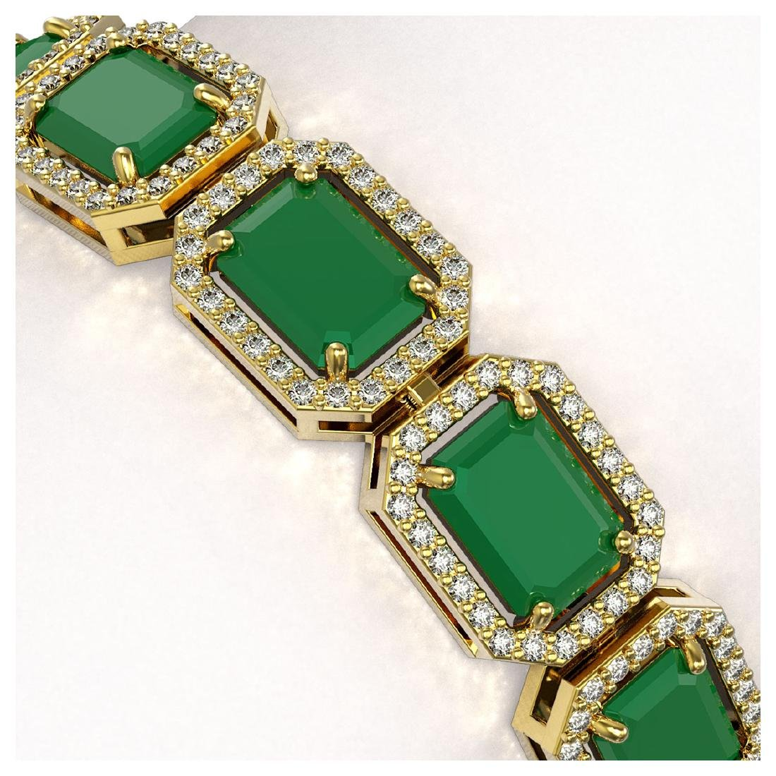26.21 ctw Emerald & Diamond Halo Bracelet 10K Yellow - 3
