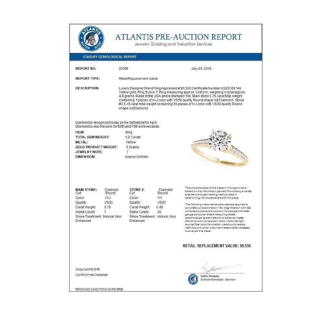 1.20 ctw VS/SI Diamond Solitaire Ring 14K Yellow Gold - - 3