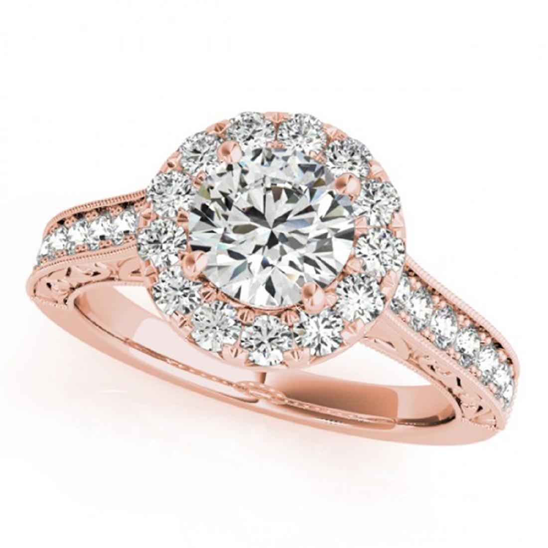 1.40 ctw VS/SI Diamond Halo Ring 14K Rose Gold -