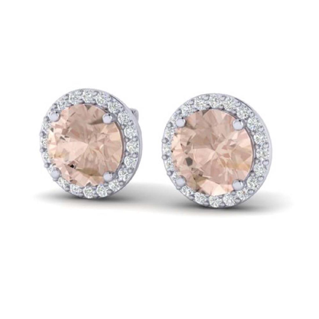 3 ctw Morganite & Halo VS/SI Diamond Earrings 18K White