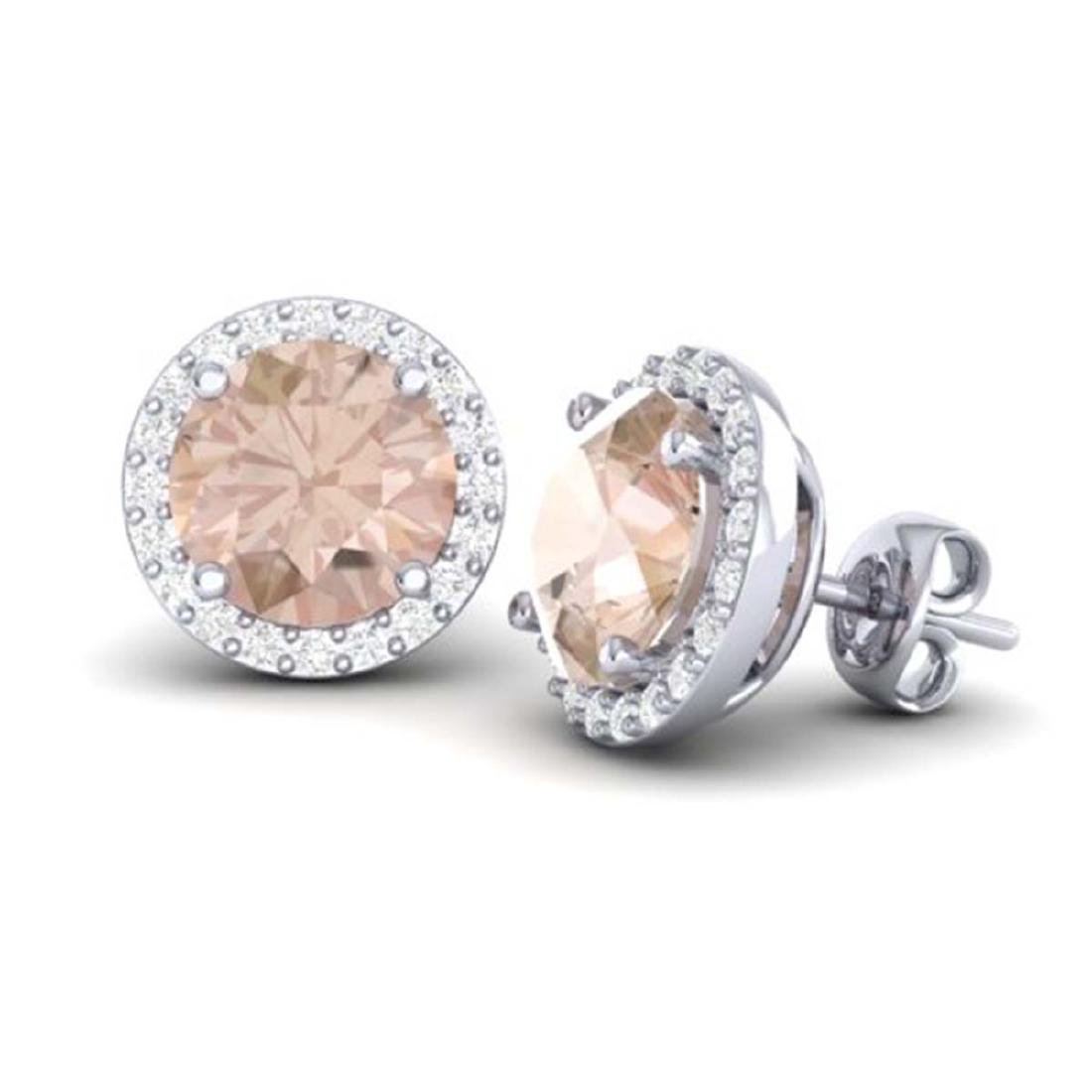 3 ctw Morganite & Halo VS/SI Diamond Earrings 18K White - 2