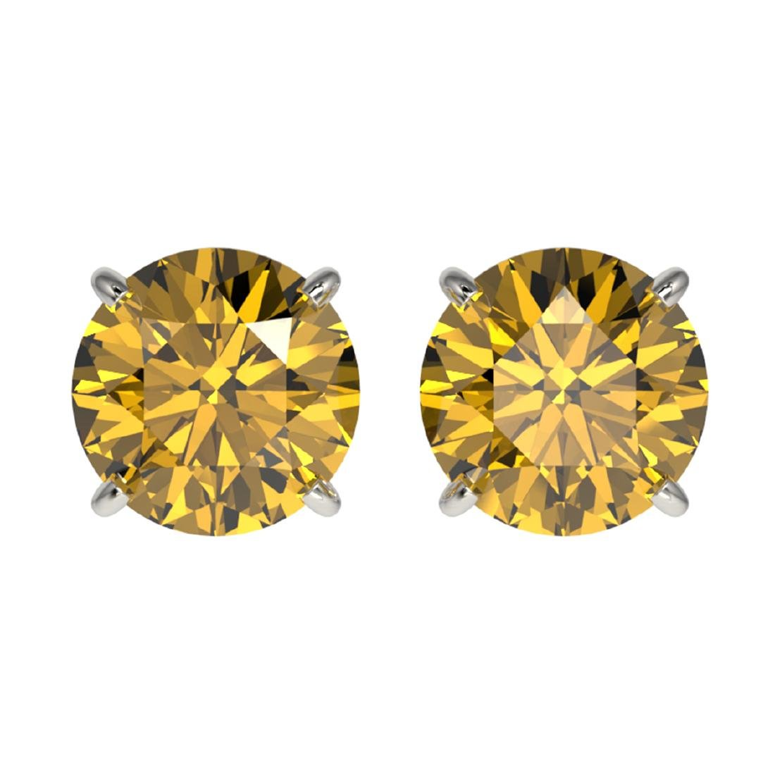 1.92 ctw Intense Yellow Diamond Stud Earrings 10K White