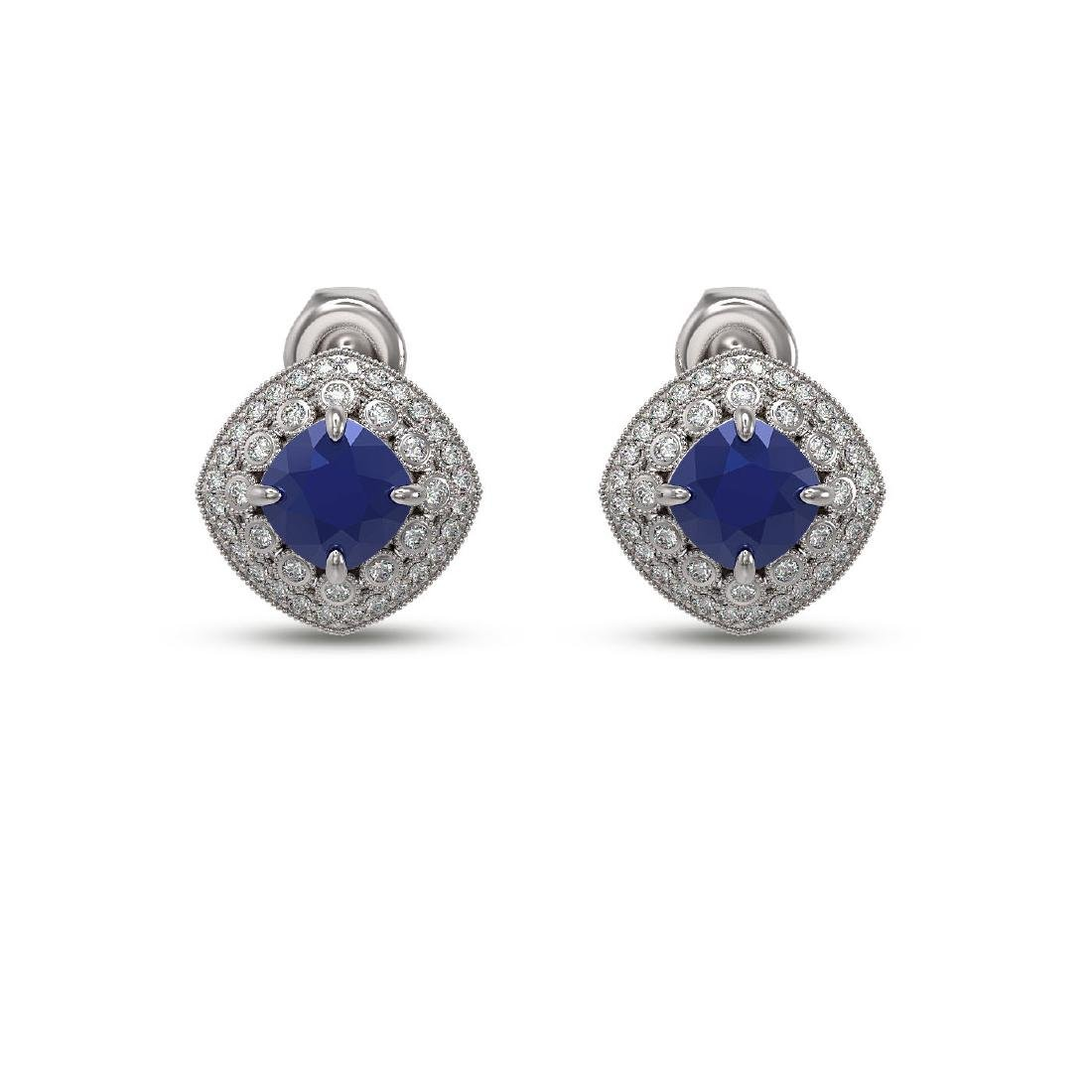 4.99 ctw Sapphire & Diamond Earrings 14K White Gold -