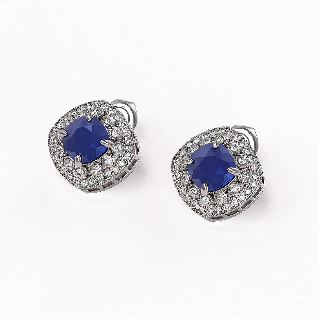 4.99 ctw Sapphire & Diamond Earrings 14K White Gold - - 2