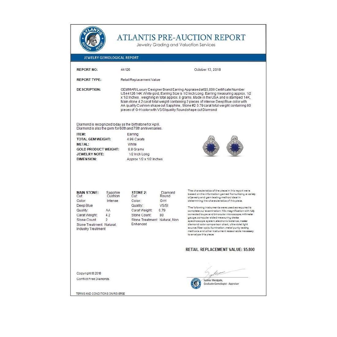 4.99 ctw Sapphire & Diamond Earrings 14K White Gold - - 3