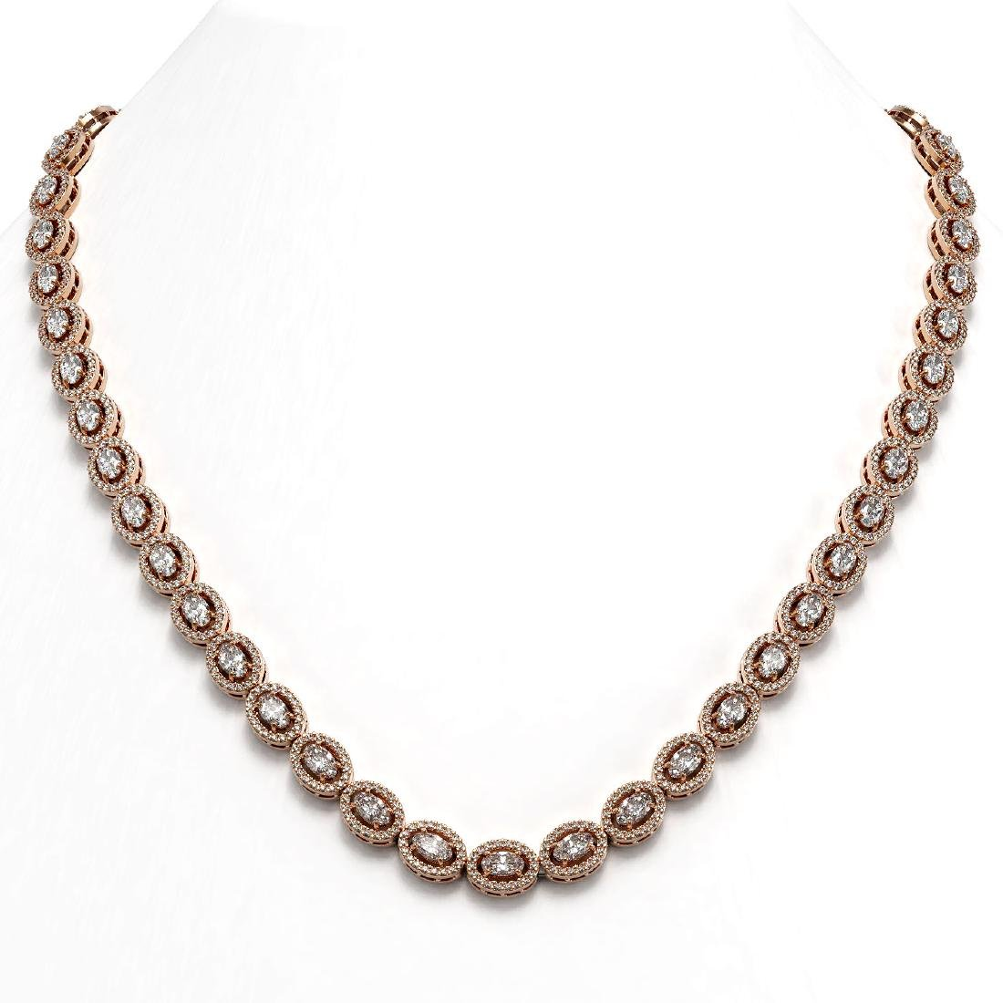 18.43 ctw Oval Diamond Necklace 18K Rose Gold -
