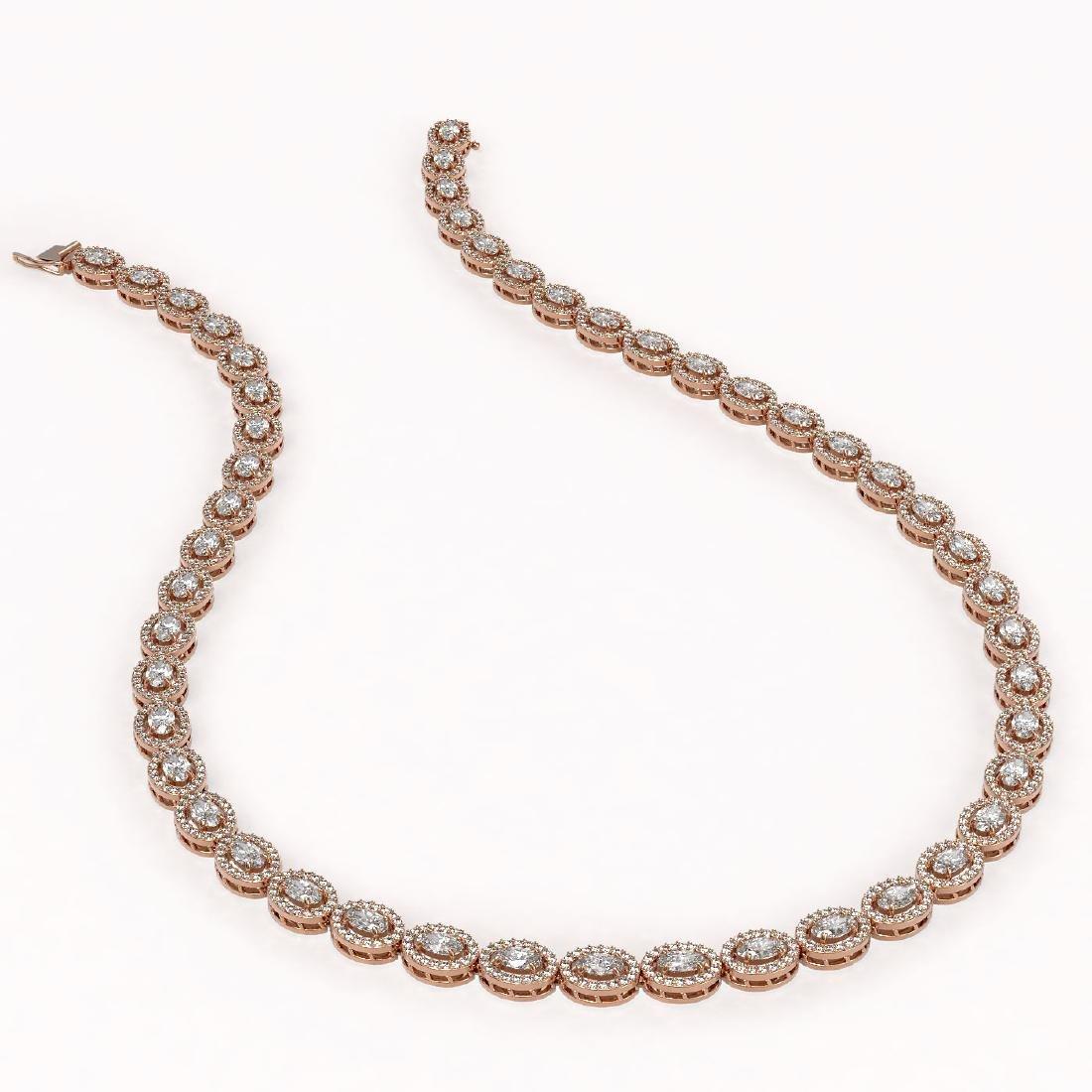 18.43 ctw Oval Diamond Necklace 18K Rose Gold - - 2