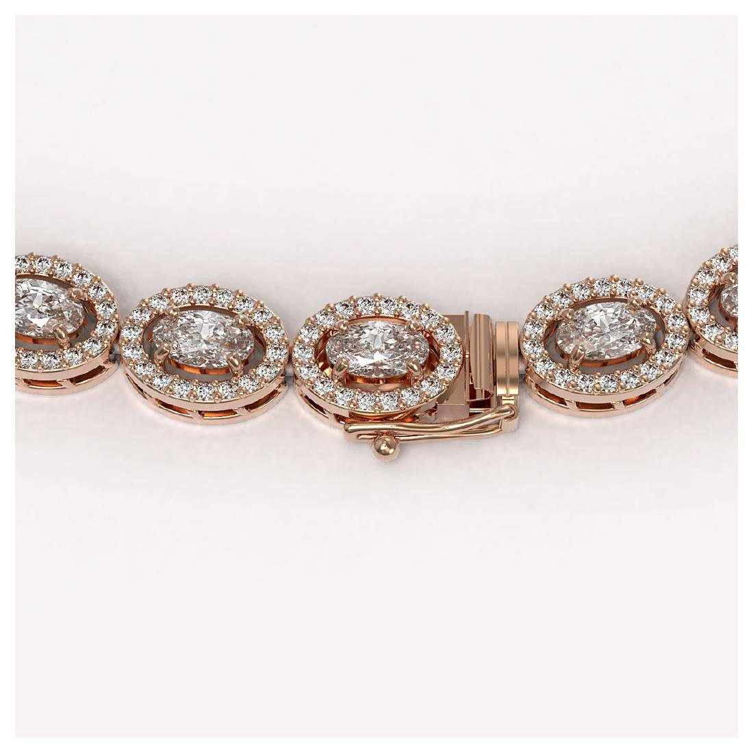 18.43 ctw Oval Diamond Necklace 18K Rose Gold - - 3
