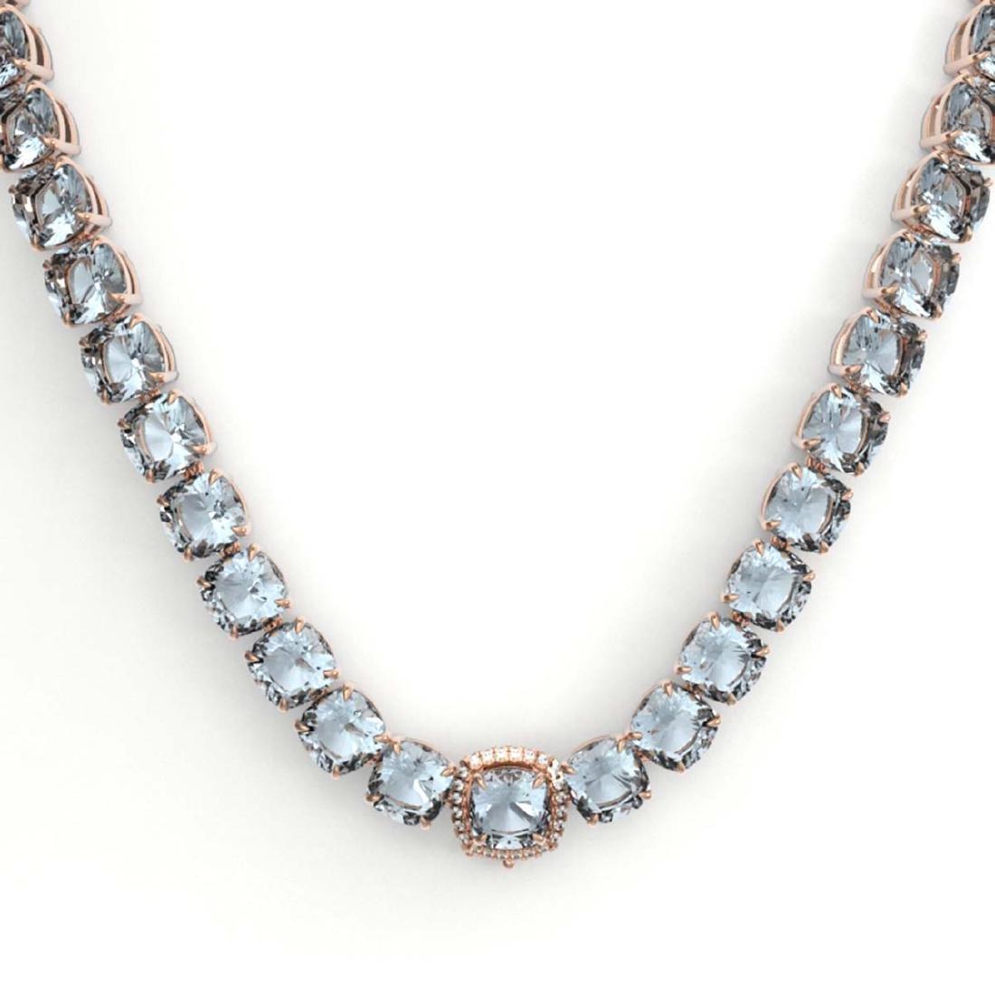 87 ctw Sky Blue Topaz & VS/SI Diamond Necklace 14K Rose - 2