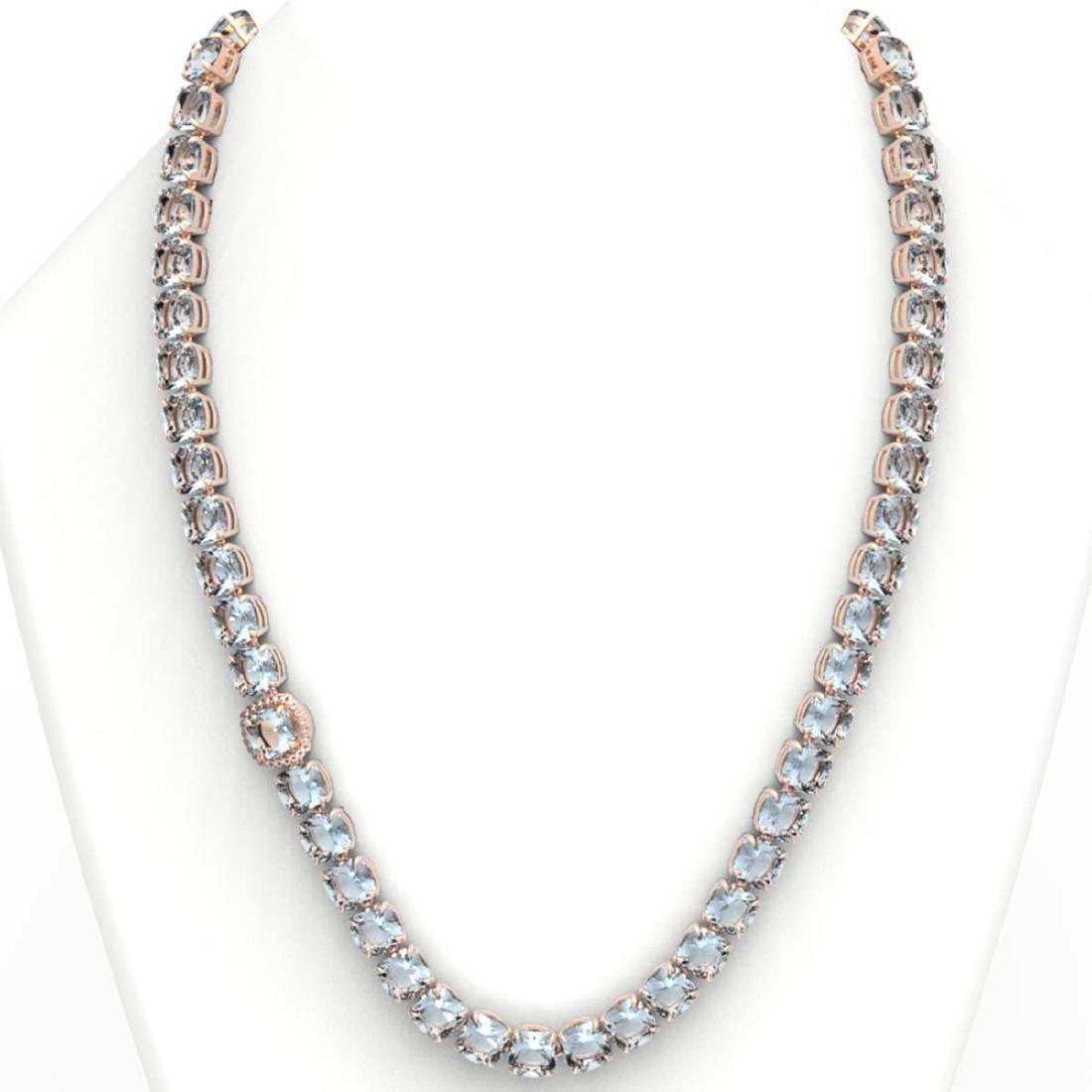 87 ctw Sky Blue Topaz & VS/SI Diamond Necklace 14K Rose - 3