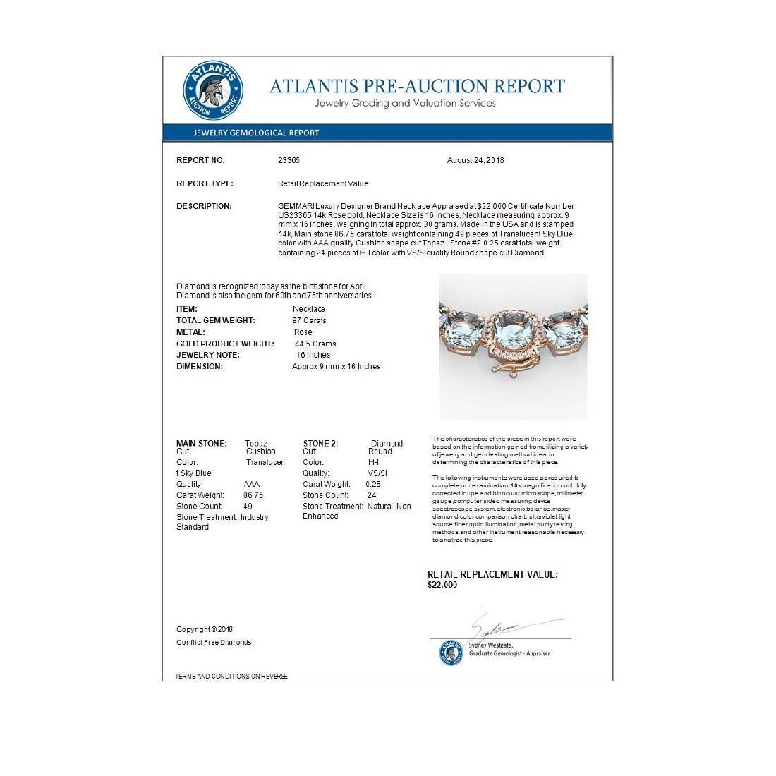 87 ctw Sky Blue Topaz & VS/SI Diamond Necklace 14K Rose - 4