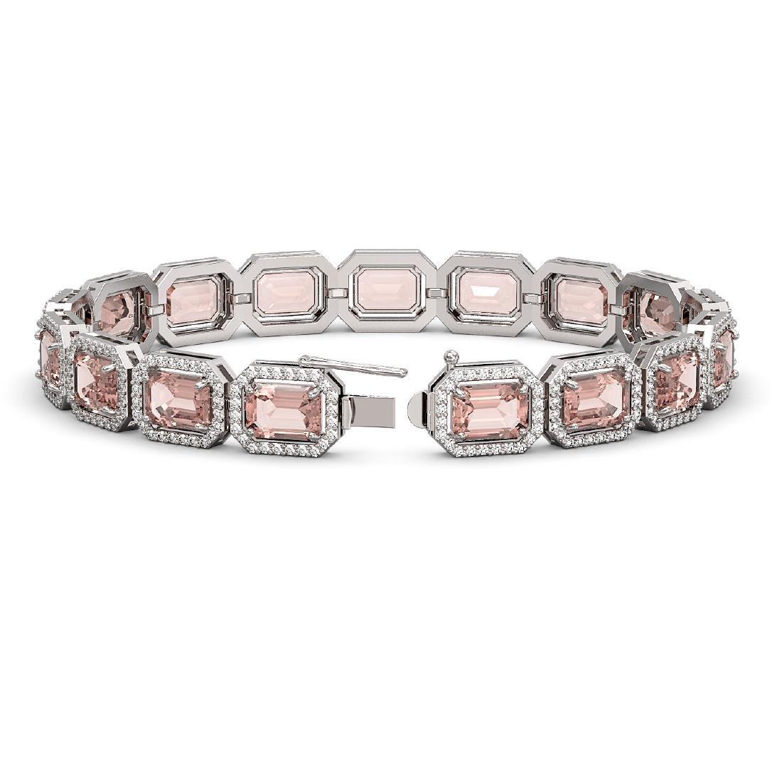 22.81 ctw Morganite & Diamond Halo Bracelet 10K White - 2