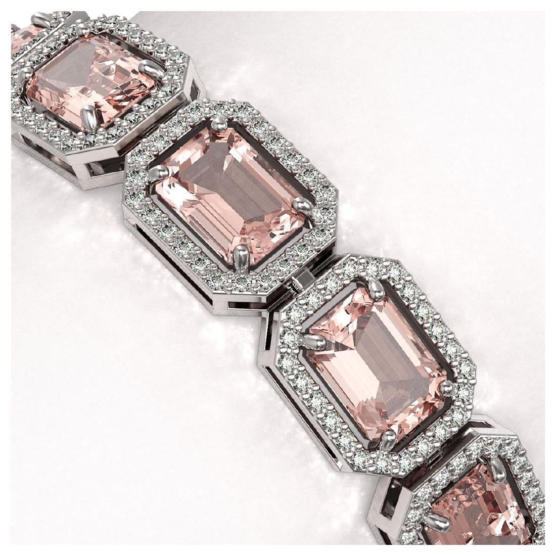 22.81 ctw Morganite & Diamond Halo Bracelet 10K White - 3