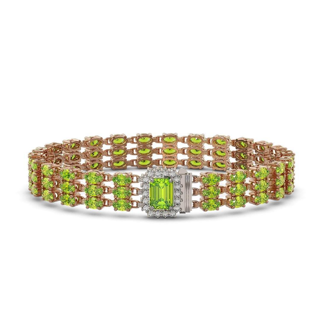 25.34 ctw Peridot & Diamond Bracelet 14K Rose Gold -
