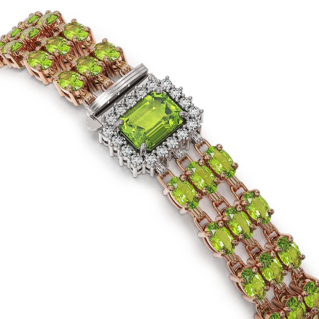 25.34 ctw Peridot & Diamond Bracelet 14K Rose Gold - - 2