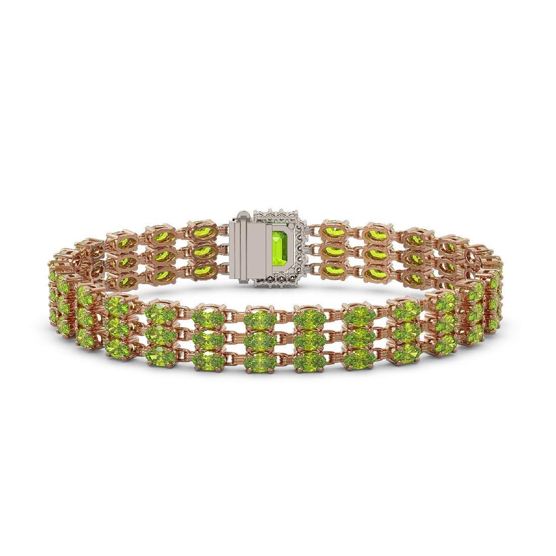 25.34 ctw Peridot & Diamond Bracelet 14K Rose Gold - - 3