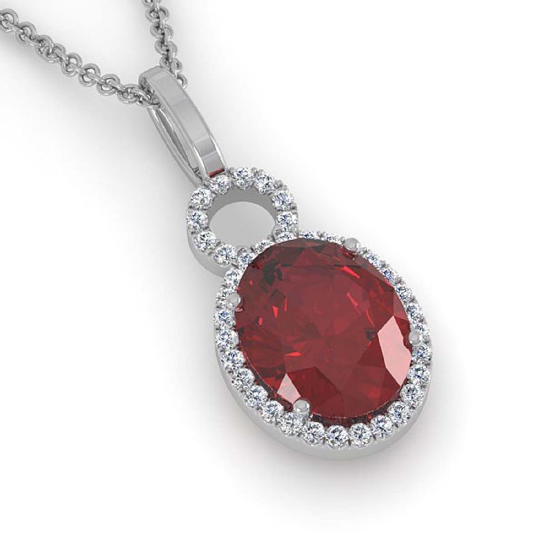 4 ctw Garnet & Halo VS/SI Diamond Necklace 14K White