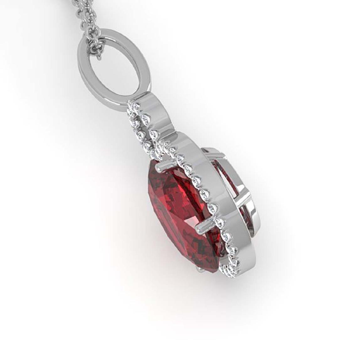 4 ctw Garnet & Halo VS/SI Diamond Necklace 14K White - 2