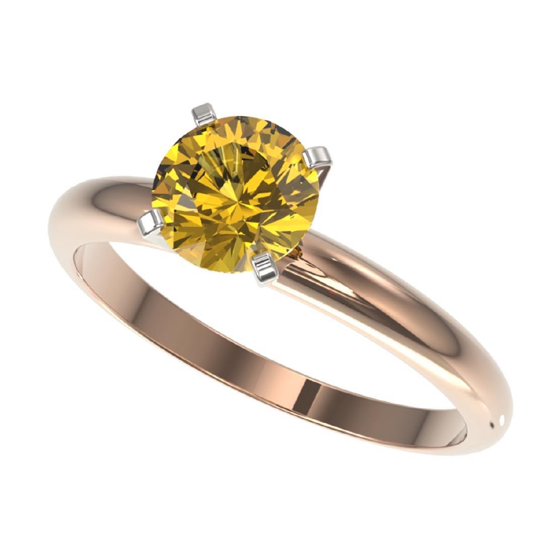 1.25 ctw Intense Yellow Diamond Solitaire Ring 10K Rose