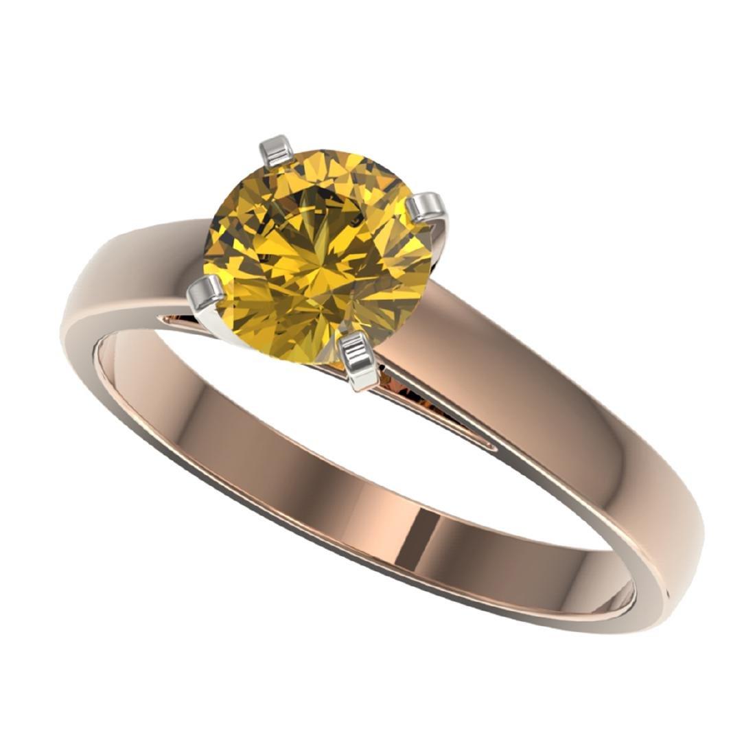 1.23 ctw Intense Yellow Diamond Solitaire Ring 10K Rose