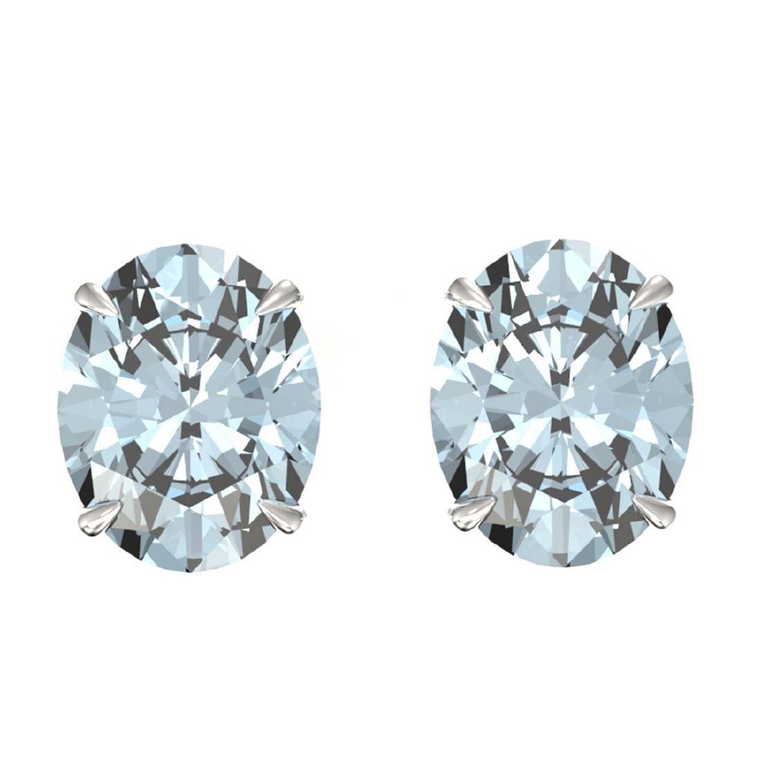 7 ctw Sky Blue Topaz Stud Earrings 18K White Gold -