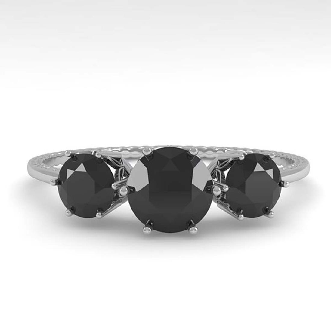 1 ctw Black Diamond Art Deco Ring 14K White Gold -