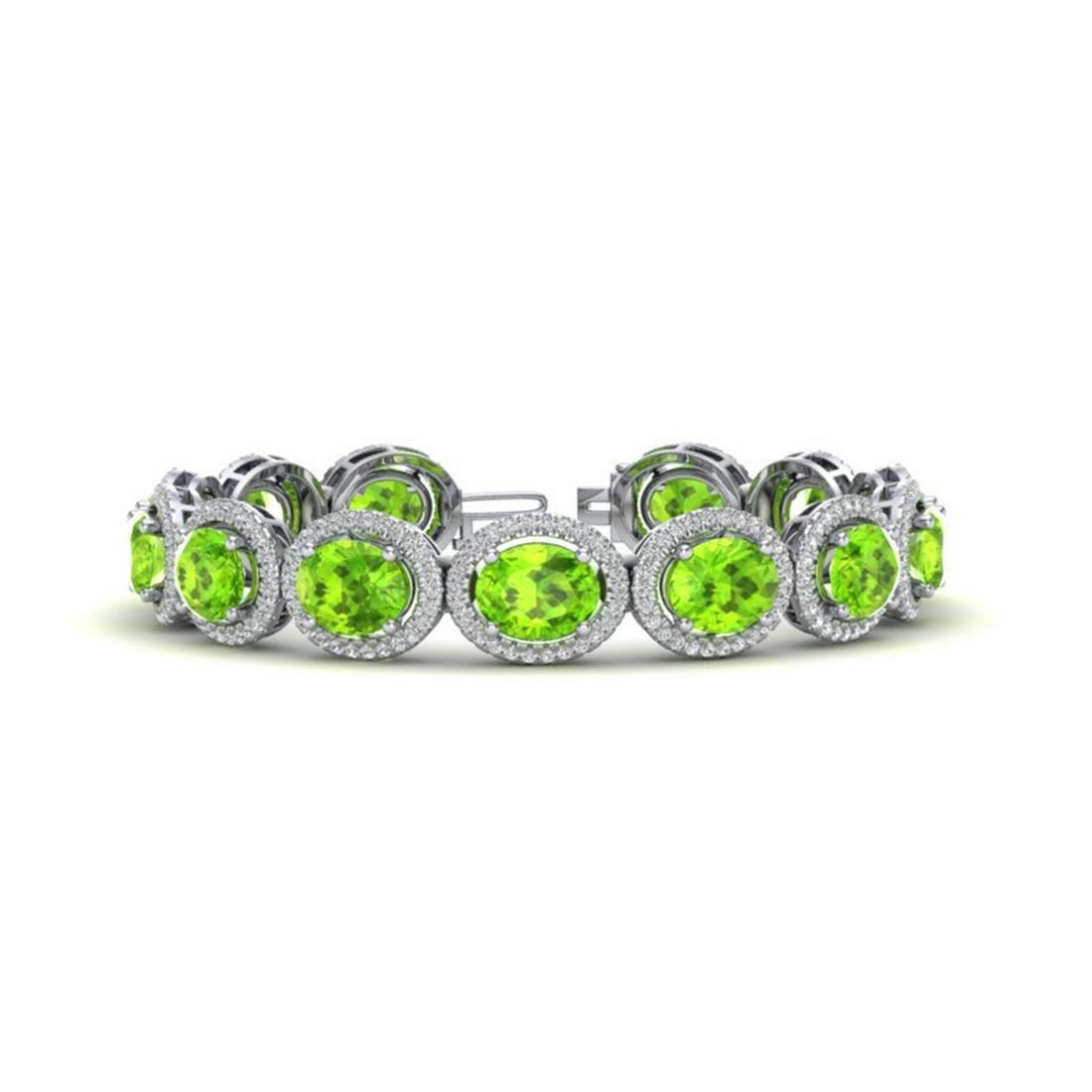 27 ctw Peridot & VS/SI Diamond Bracelet 10K White Gold