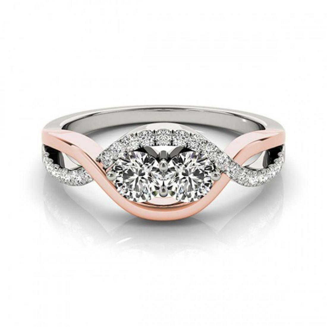 1.25 ctw VS/SI Diamond 2 Stone Ring 14K White & Rose