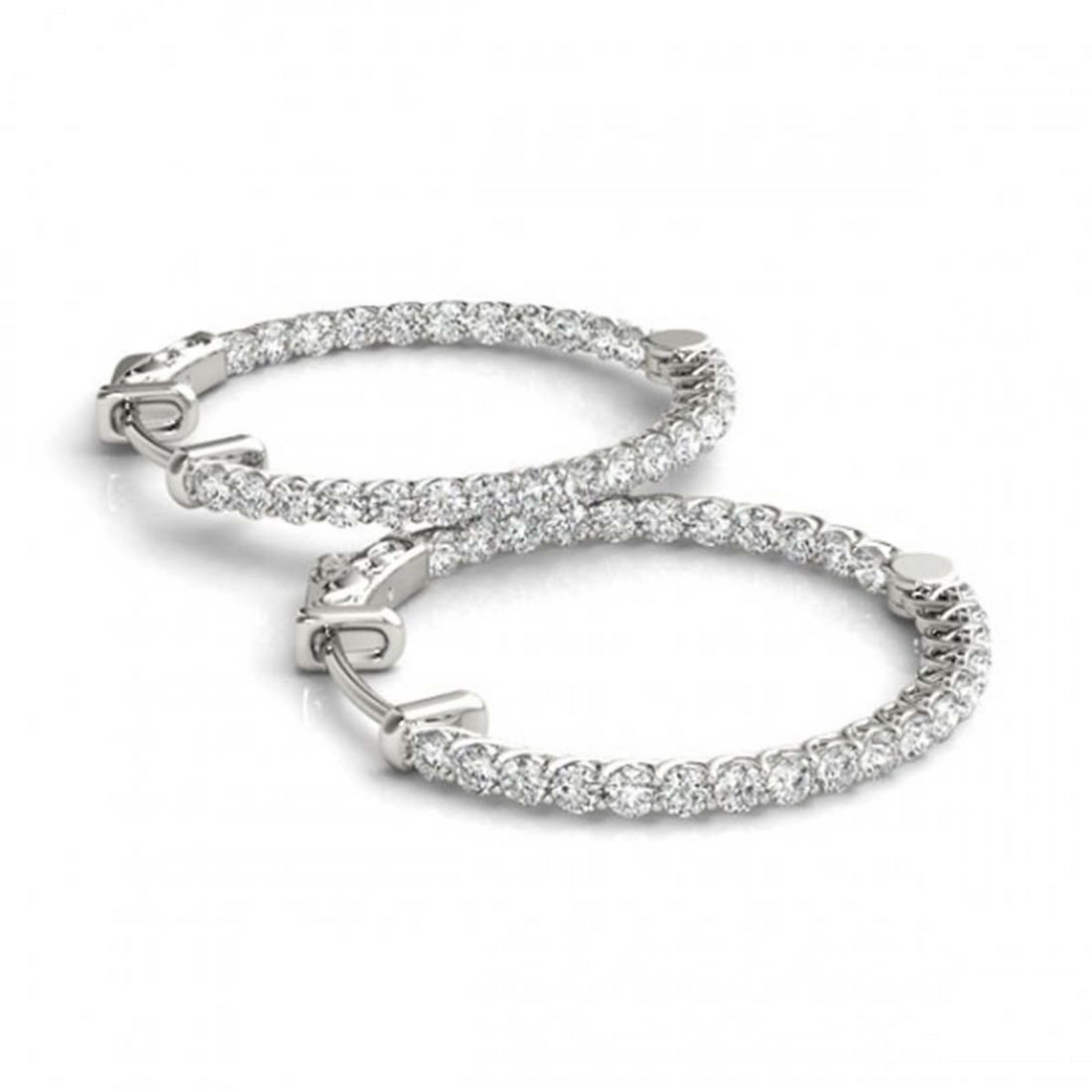 2 ctw Diamond VS/SI 21 mm Hoop Earrings 14K White Gold
