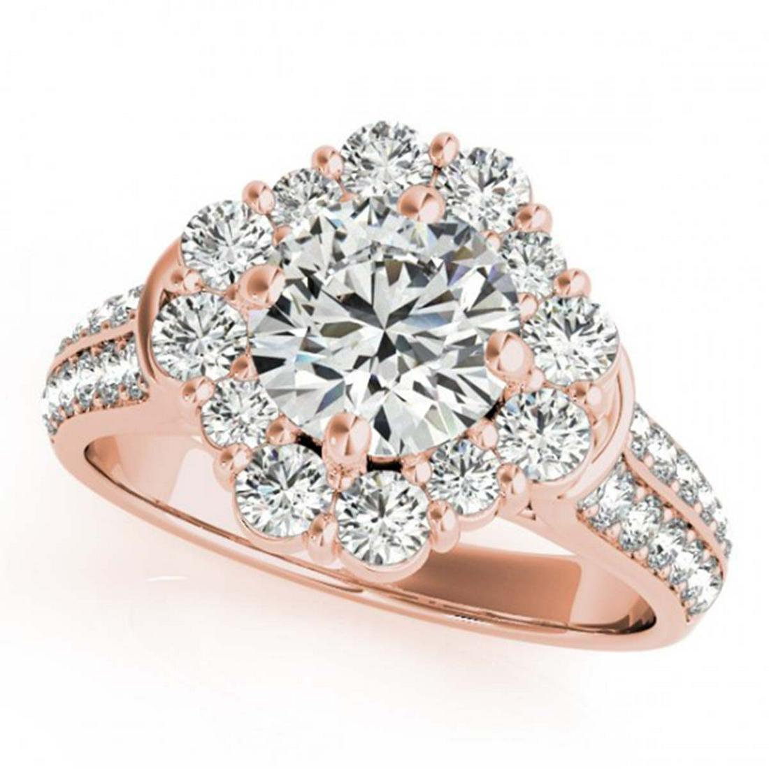 2.81 ctw VS/SI Diamond Solitaire Halo Ring 14K Rose