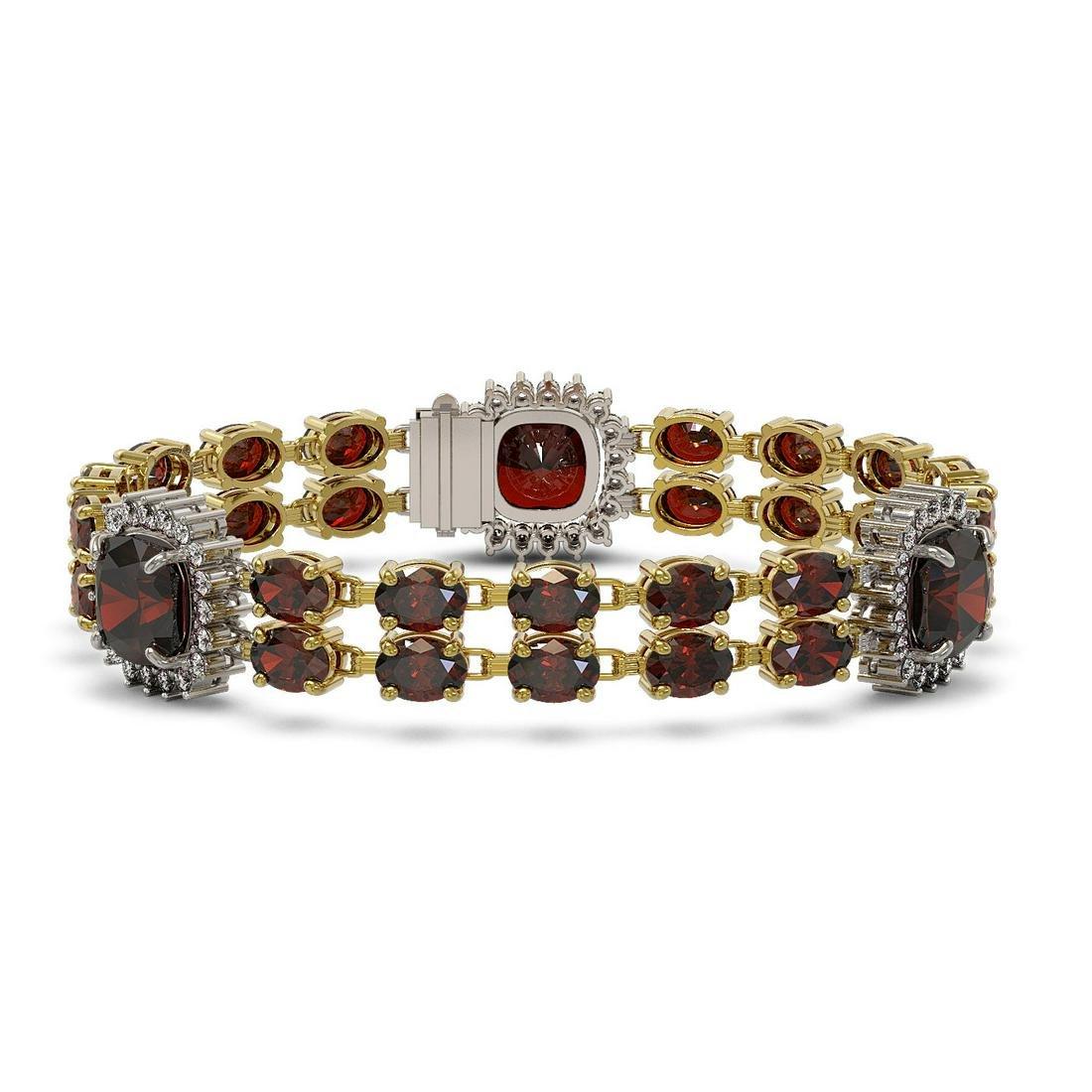 17.34 ctw Garnet & Diamond Bracelet 14K Yellow Gold -