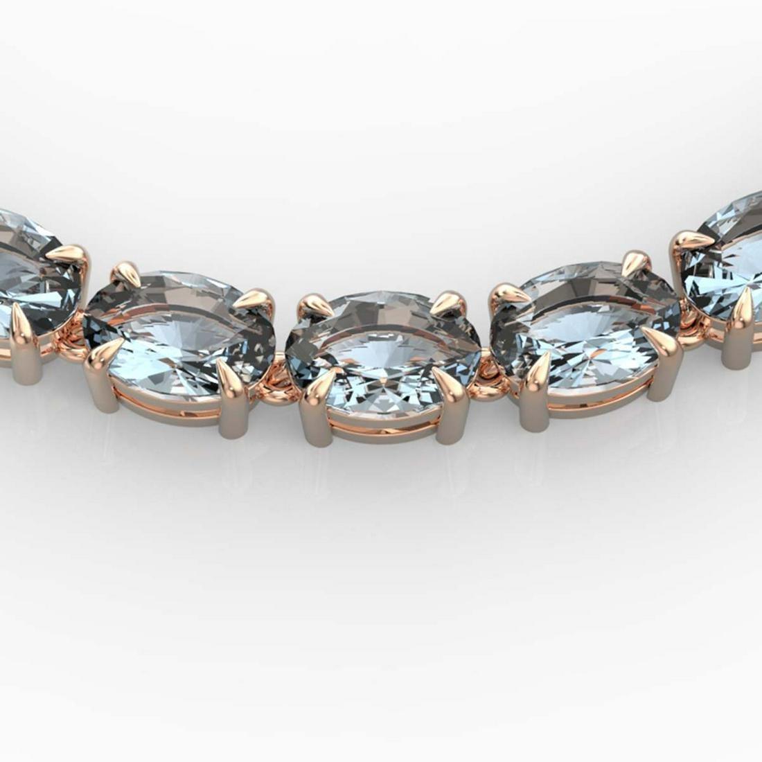45 ctw Aquamarine Eternity Necklace 14K Rose Gold -