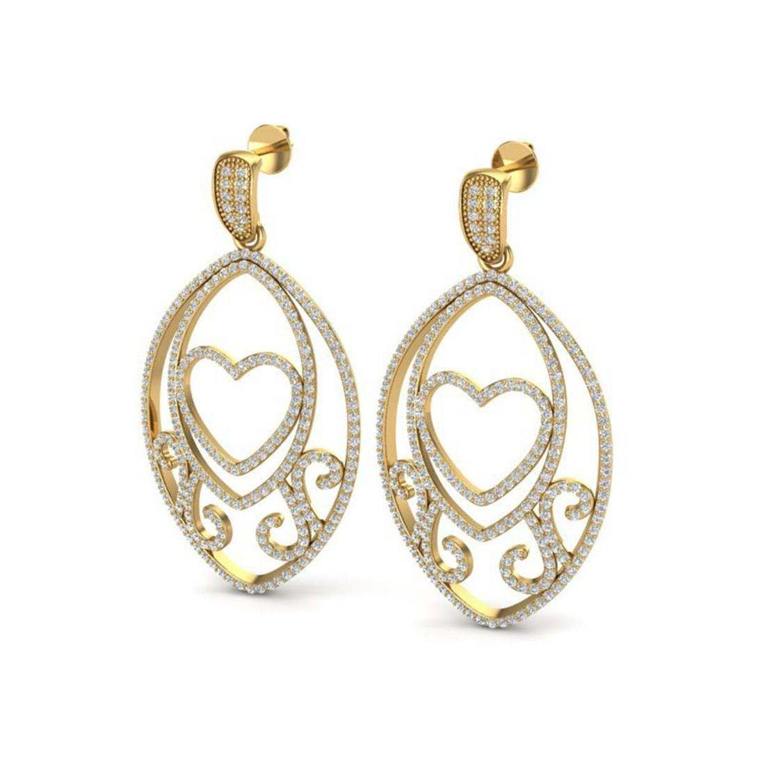 3.20 ctw VS/SI Diamond Heart Earrings 18K Yellow Gold -