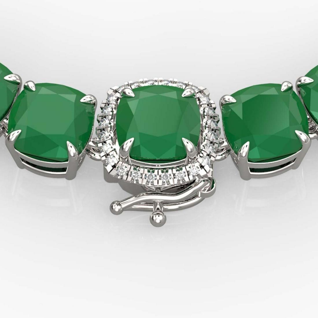 116 ctw Emerald & VS/SI Diamond Necklace 14K White Gold