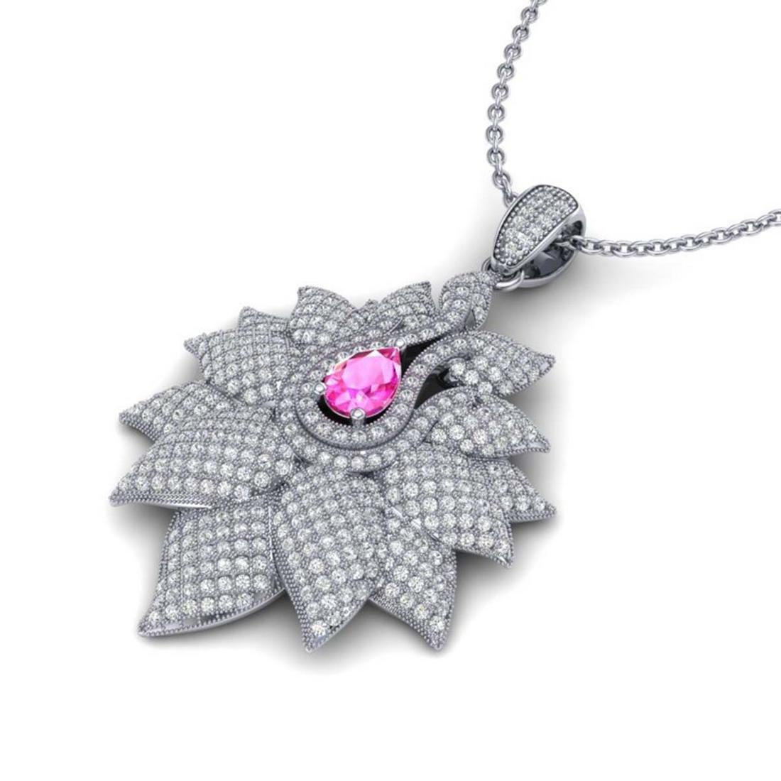 3 ctw Pink Sapphire & VS/SI Diamond Necklace 18K White