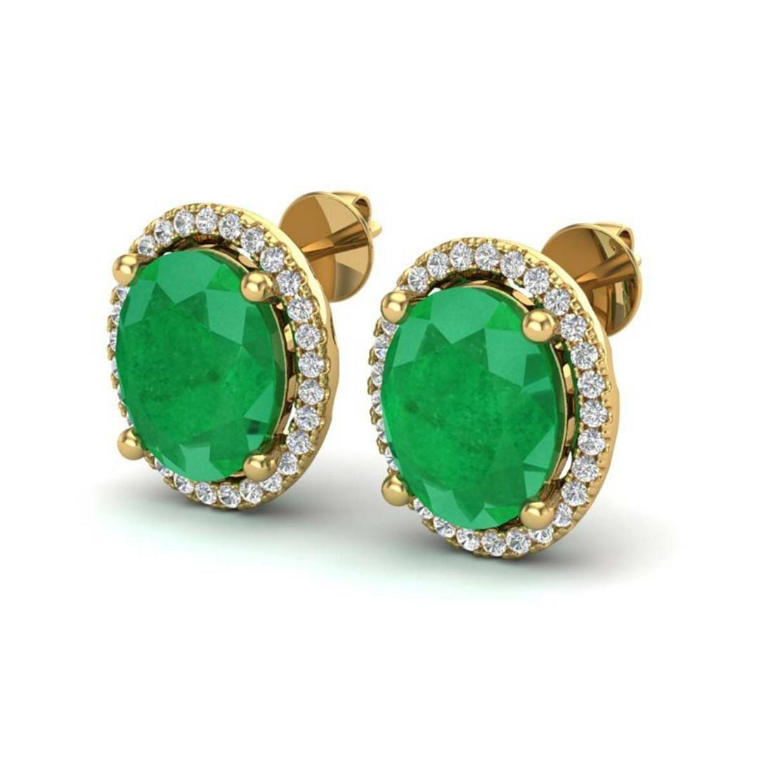 6 ctw Emerald & VS/SI Diamond Earrings 18K Yellow Gold