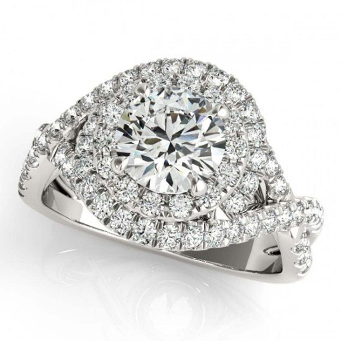 1.50 ctw VS/SI Diamond Solitaire Halo Ring 14K White