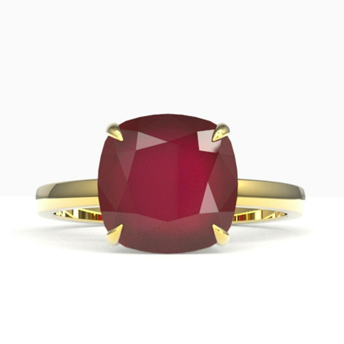 6 ctw Ruby Solitaire Ring 18K Yellow Gold - REF-63K6W -