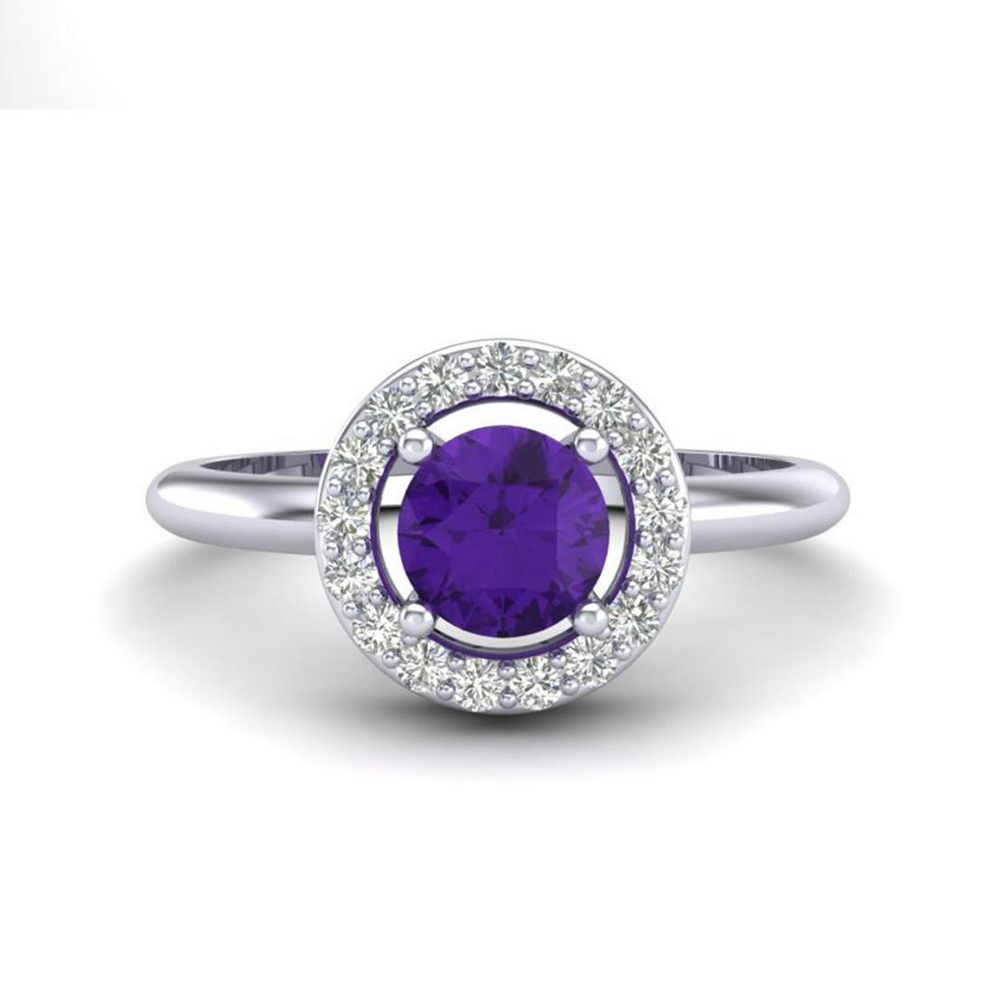 0.75 ctw Amethyst & VS/SI Diamond Ring 18K White Gold -
