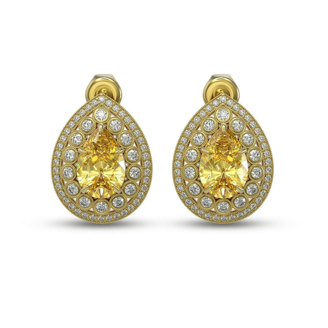 7.74 ctw Canary Citrine & Diamond Earrings 14K Yellow