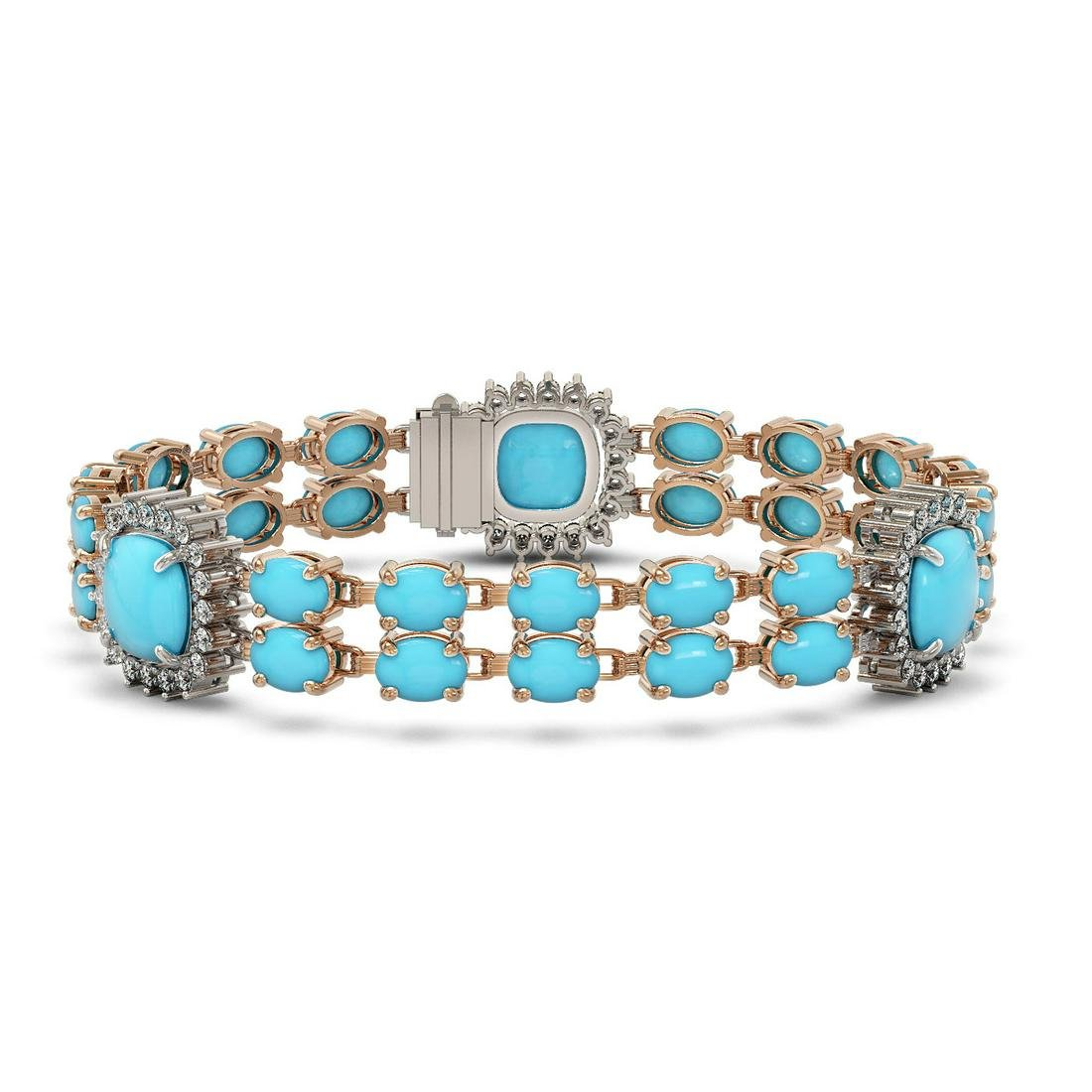 15.27 ctw Turquoise & Diamond Bracelet 14K Rose Gold -