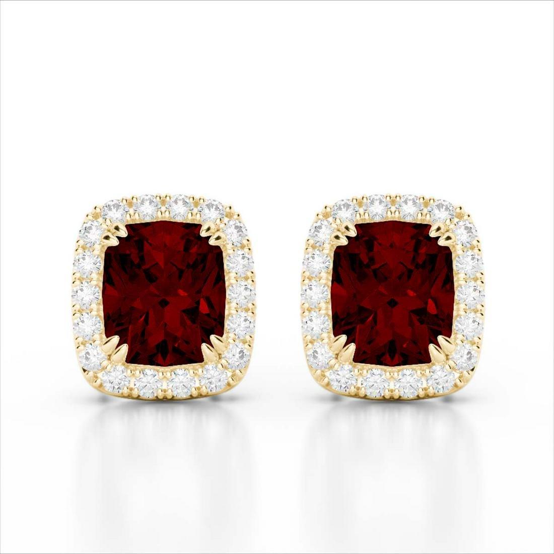 2.50 ctw Garnet & VS/SI Diamond Earrings 10K Yellow