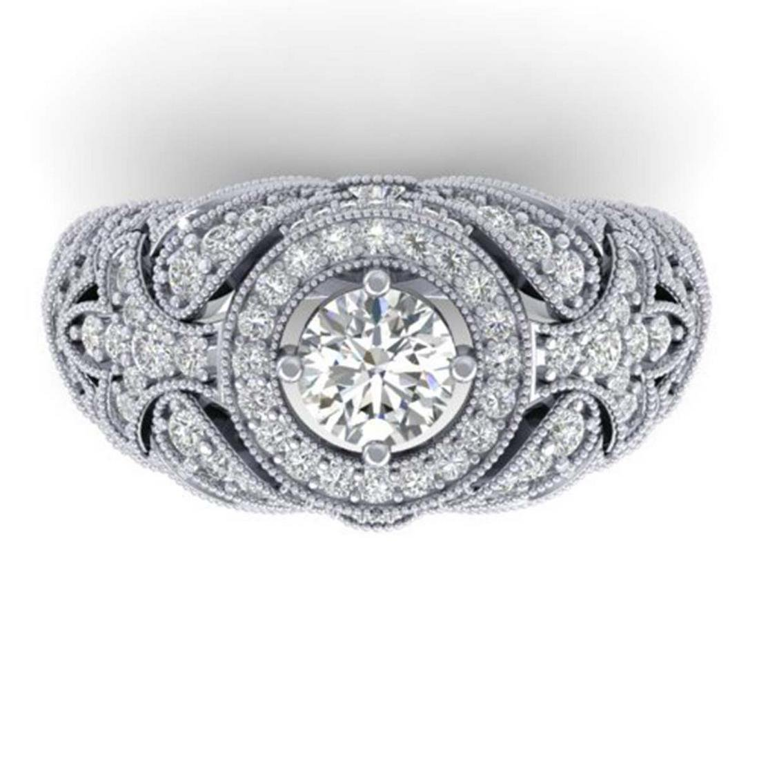 2.35 ctw VS/SI Diamond Art Deco Ring 18K White Gold -